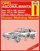 Opel Ascona   Manta Owners Workshop Manual