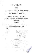 Cimelia: seu examen criticum librorum