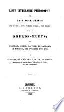 Liste littéraire philocophe, ou catalogue d'étude de ce qui a été publié jusqu'à nos jours sur les sourds-muets; sur l'orcille, l'ouïe, etc