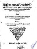 Missiva und Sendbrief an P  Theodorum von Roess