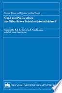Stand und Perspektiven der öffentlichen Betriebswirtschaftslehre
