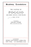 The Facetiae Of Poggio And Other Medieval Story Tellers