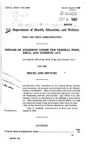 Notices of Judgment Under the Federal Food, Drug, and Cosmetic Act. ... Drugs and Devices