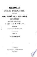 Memorie storico diplomatiche appartenenti alla citt   ed ai marchesi di Saluzzo