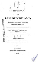 Erskine s Principles of the Law of Scotland