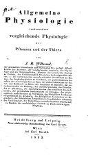 Allgemeine Physiologie insbesondere vergleichende Physiologie der Pflanzen und der Thiere