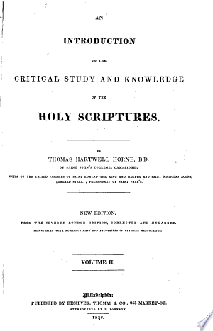 An Introduction to the Critical Study of the Holy Scriptures