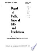 Digest Of Public General Bills And Resolutions book