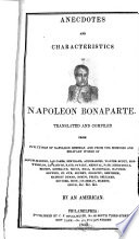 Anecdotes and Characteristics of Napoleon Bonaparte