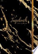 Tagebuch A5 Liniert 100 Seiten 90g M2 Soft Cover Motiv Marmor Gold Auf Schwarz Fsc Papier