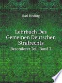 Lehrbuch Des Gemeinen Deutschen Strafrechts