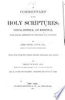 A Commentary On The Holy Scriptures book