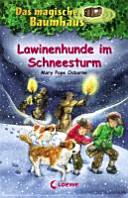 Lawinenhunde im Schneesturm