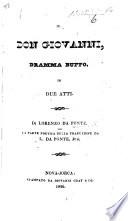 Il Don Giovanni, dramma buffo, in due atti ... La parte poetica della traduzione da L. da Ponte jun. Ital. and Engl