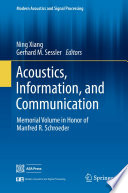 Acoustics Information And Communication book