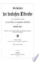Geschichte der deutschen Literatur: Vom ersten Viertel des 16. Jahrhunderts bis ungefähr 1770