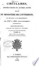 Circulaires  instructions et autres actes   man  s du Minist  re de l interieur     1797    1830