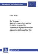 Die Weimarer Nationalversammlung und die deutsche Aussenpolitik