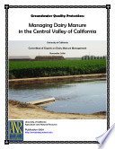 Groundwater Quality Protection  Managing Dairy Manure in the Central Valley