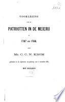 Voorlezing over de patriotten in de Meierij in 1787 en 1788