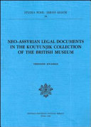 download ebook neo-assyrian legal documents in the kouyunjik collection of the british museum pdf epub