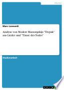 """Analyse von Modest Mussorgskijs """"Trepak"""" aus Lieder und """"Tänze des Todes"""""""