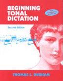 Beginning Tonal Dictation