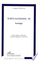 Ecrits allemands - III