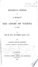 Historical Memoir of a Mission to the Court of Vienna in 1806