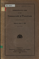 Administrative Code of the Commonwealth of Pennsylvania, Effective June 1, 1929