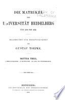 Die matrikel der Universitat Heidelberg