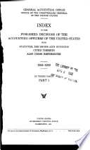 Index to the published decisions of the accounting officers of the United States