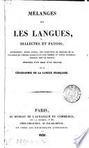 Mélanges sur les langues, dialectes et patois [ed. by S. Bottin.].