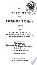 Die Geschichte der Landstände in Baiern