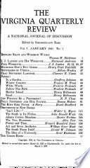 Virginia Quarterly Review  1931 Book PDF