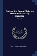 Engineering Record Building Record And Sanitary Engineer  book
