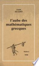 illustration du livre L'aube des mathématiques grecques