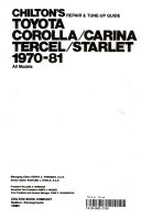 Chilton S Repair Tune Up Guide Toyota Corolla Carina Tercel Starlet 1970 81