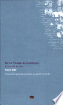 illustration du livre De la poésie-scientifique & autres écrits