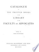 Catalogue of the Printed Books in the Library of the Faculty of Advocates     Book PDF