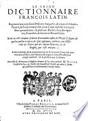 Le grand dictionnaire françois-latin