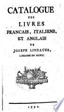 Catalogue des livres fran  ais  italiens et anglais chez Jos  Lindauer