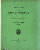 Inventaire-sommaire des archives communales antérieures à 1790. Ville de Rodez. [With] Supplément
