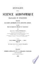 Annales de la science agronomique fran  aise et   trang  re