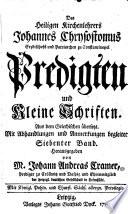 Predigten und kleine Schriften ... hrsg. von Johann Andreas Cramer