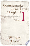 Commentaries on the Laws of England  Volume 1