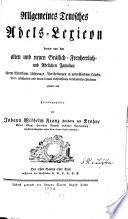 Allgemeines Teutsches Adels-Lexicon