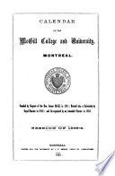 McGill University Calendar  and Examination Papers