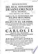 Descripcion del Real Monasterio de San Lorenzo de El Escorial