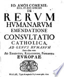 Consultatio catholica de rerum humanarum Emendatione